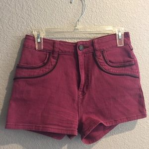 Urban Outfitter burgundy Erin high rise shorts